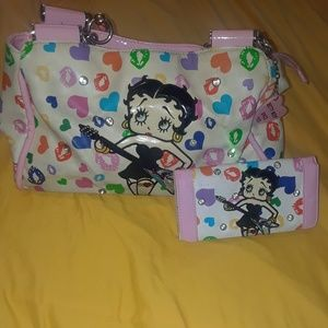Handbags - White Print Betty Boop Purse w/wallet